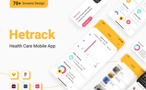 Hetrack 全面的健康保健生活类移动应用UI套件 74个UI布局