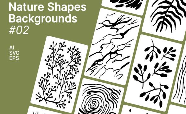 手工绘制的一组自然形状 矢量插画背景素材 33种精美插画