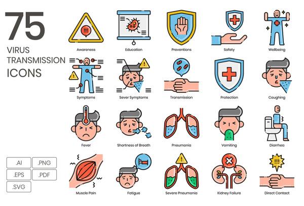 75个有关预防病毒传播 矢量图标素材 了解和预防病毒传染