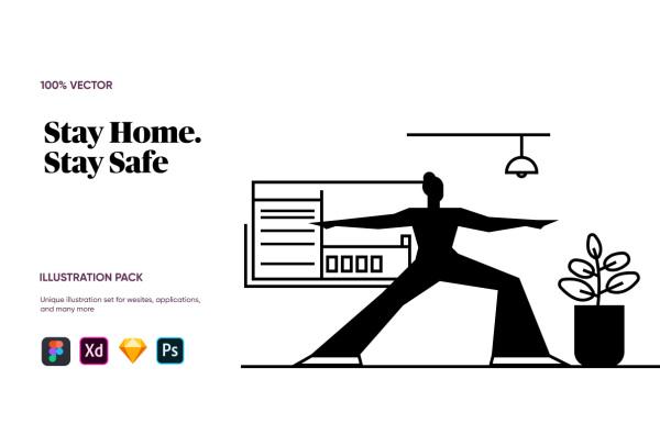 呆在家里保持安全 人物场景矢量插画素材 含7幅精美的插画