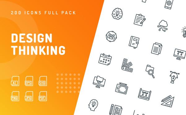 200个优质的设计思维类矢量图标素材 4种样式含彩色和单色
