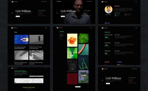 个人作品展示/CV/简历HTML模板 含16个HTML响应式网页