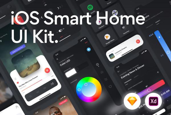 智能家居自动化 物联网移动应用UI套件 含60个UI设计布局
