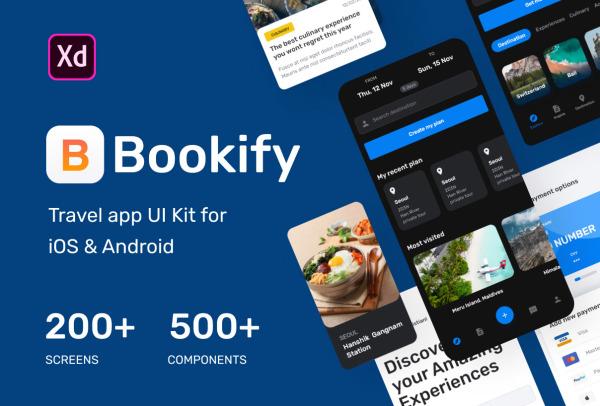 旅行出游 行程预订 旅行移动应用UI套件 含240个UI设计布局