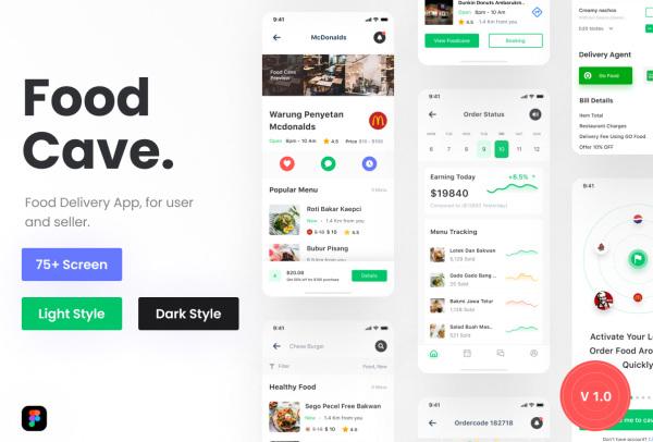 在线外卖订餐/送餐 外卖平台移动应用UI套件 含86个UI布局