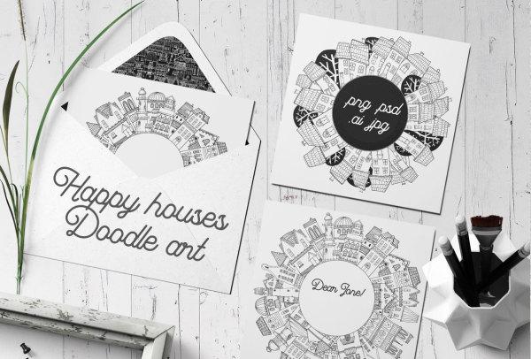 快乐之家涂鸦艺术 手工绘制 矢量插画素材 20多幅精美插画