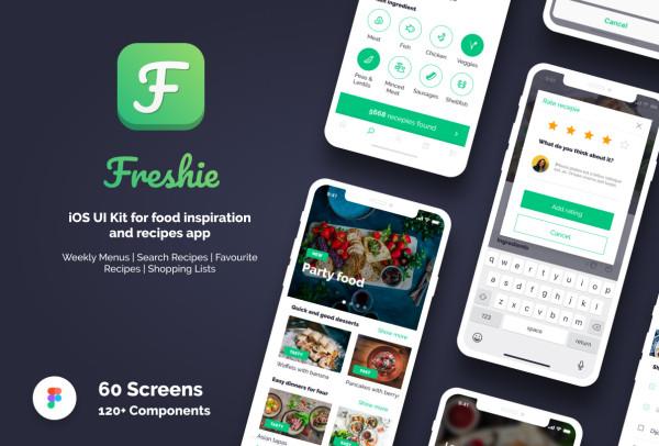 提供美食灵感和菜单食谱的移动应用UI套件 60个UI设计布局
