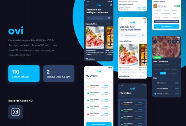 Ovi 精致的餐厅在线点餐/送餐 移动应用UI套件 109个UI布局