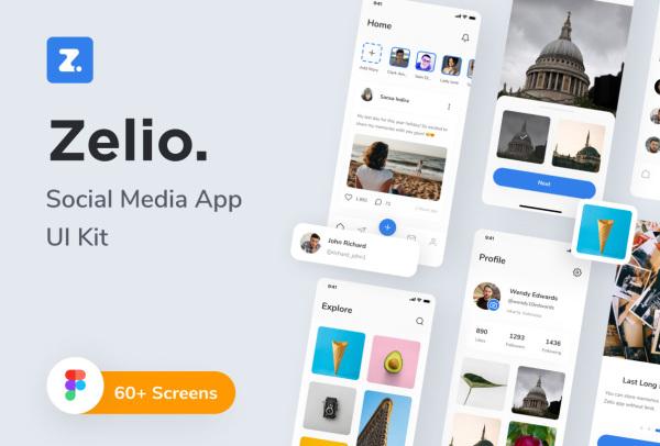 Zelio 时尚简洁的社交媒体 移动应用UI套件 64个UI设计布局