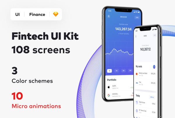 数字金融科技 移动应用UI套件 含3种风格 108个UI设计布局