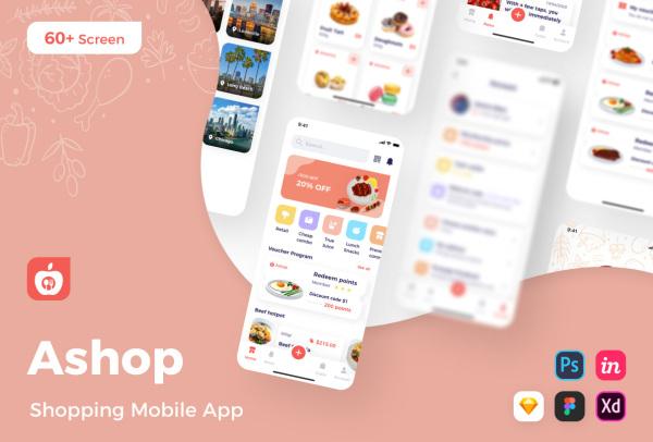 Ashop 果蔬食材购物商城 移动应用UI套件 63个UI设计布局