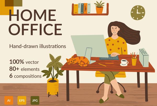 家庭办公 手绘人物场景 纹理元素矢量插画素材 6幅精美插画
