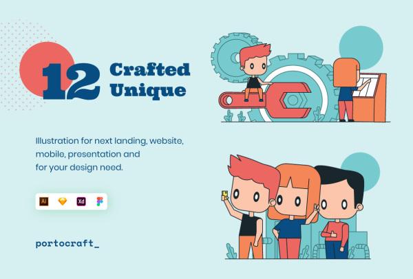 创业团队 精心制作的人物场景矢量插画素材 12幅独特插画