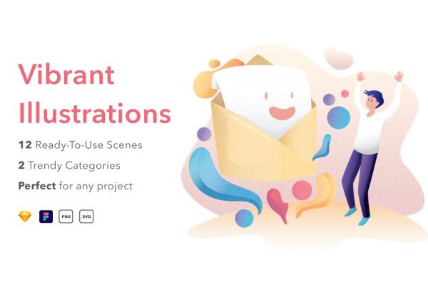 肌理设计风格 12幅关于科技和商业类人物场景矢量插画素材
