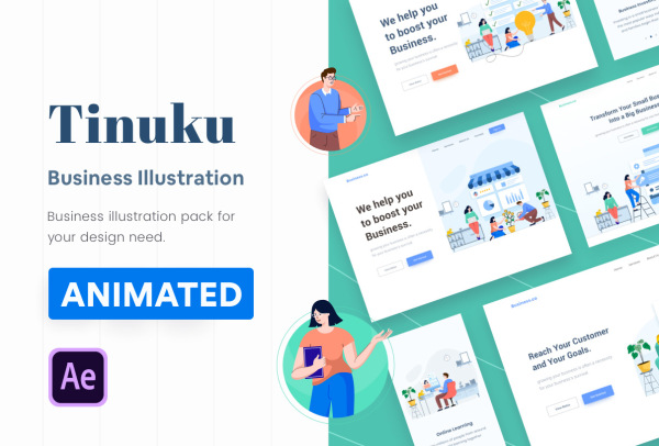 创业和商业 人物场景矢量动态插画素材 含10个动画和插画