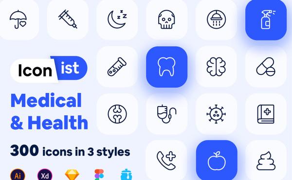医疗与健康 300个医疗类矢量图标素材 含线性/面性/双色调