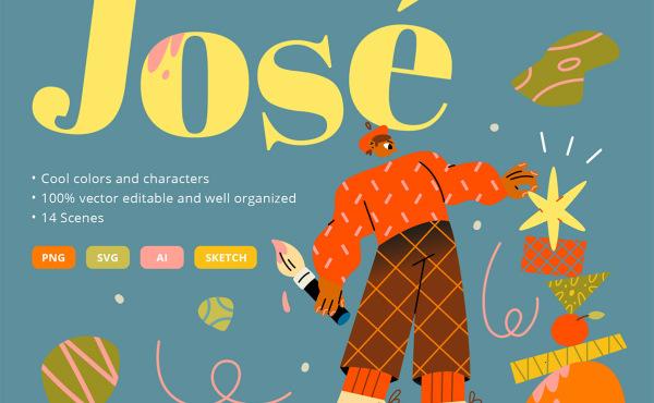 Jose 多彩时尚有趣的人物场景矢量插画素材 14幅精美插画