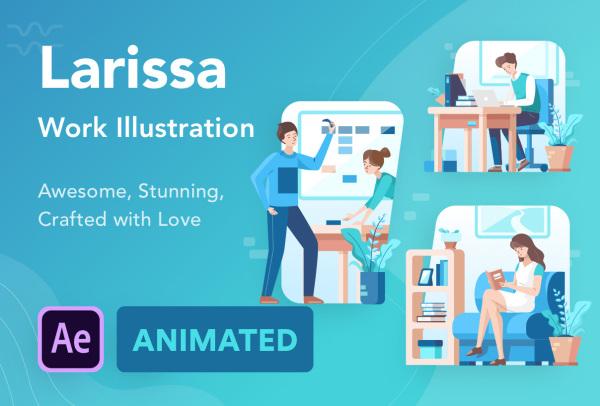 工作与活动 人物场景矢量动态插画素材 含10个动画和插画