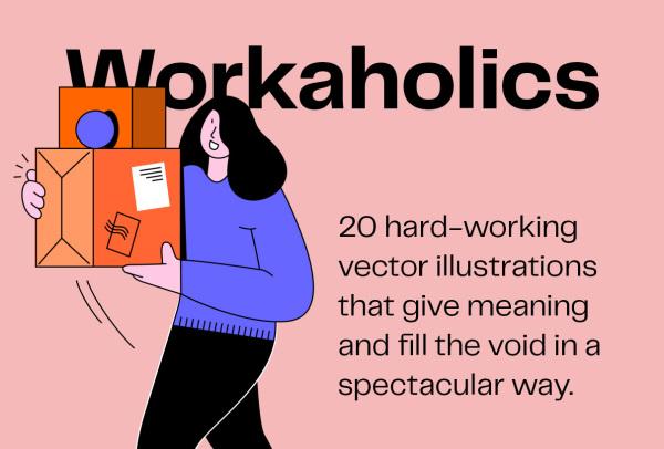 工作主题 一组人物工作场景矢量插画素材 含20幅精美插画