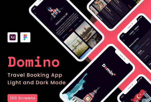Domino 旅行预订移动应用UI套件 102个UI设计 含明暗模式