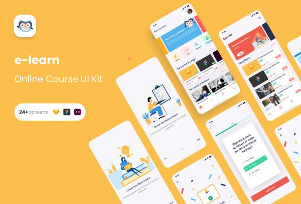 在线课程学习 视频教学类 移动应用UI套件 24个UI设计布局