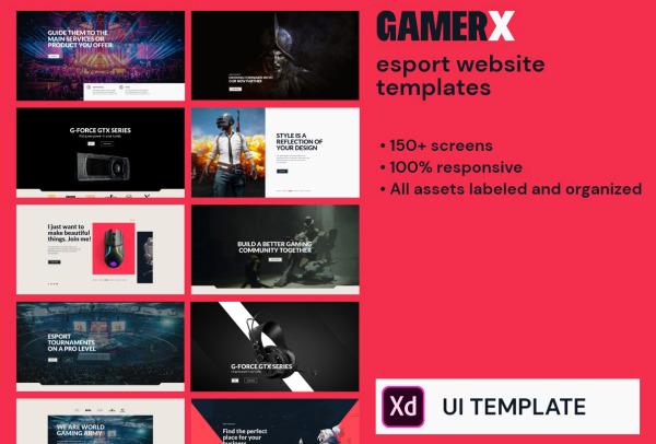 电子竞技|游戏|流媒体 PC端和移动端UI套件 含150多个组件