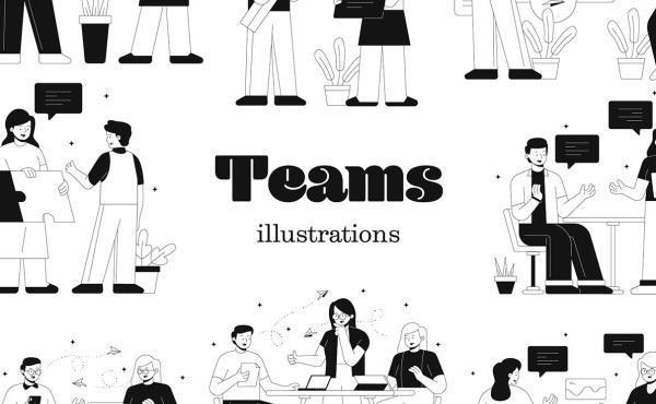 Teams 团队合作 人物工作场景矢量插画素材 20幅精美插画