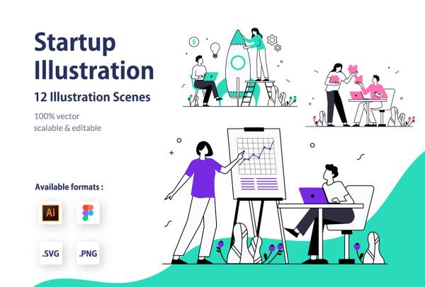 创业|合作|策略 创意人物场景矢量插画素材 含12幅精美插画