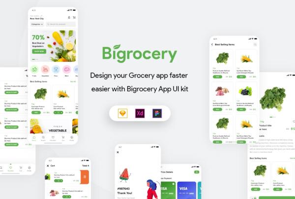 Bigrocery 一款高质量的杂货店移动应用UI套件 54个UI设计