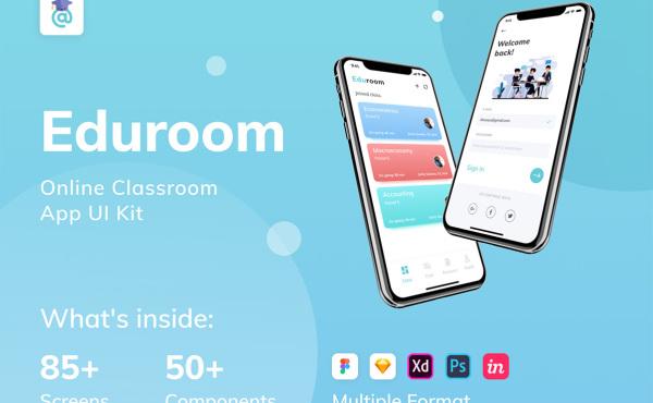 在线教室/课堂 远程教学/会议 移动应用UI套件 87个UI布局