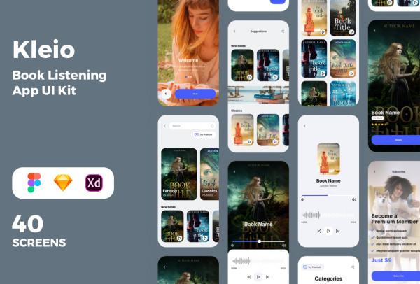 在线听书|有声小说|有声读物 移动应用UI套件 含40个UI设计