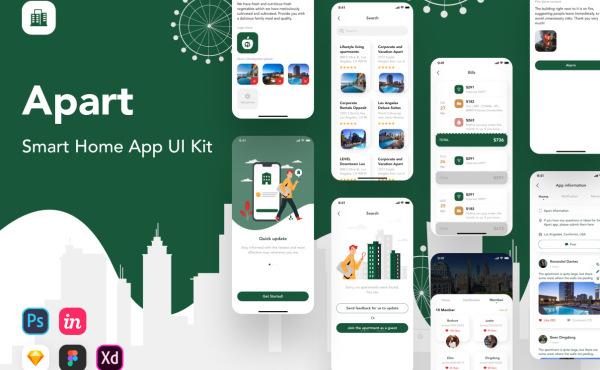 智能家居|公寓居民服务 移动应用UI套件 含52个UI设计布局