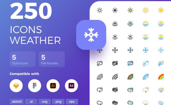 天气或气象类矢量图标素材 共250个图标 包含5种样式风格