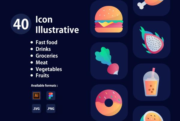 40个色彩鲜艳的矢量图标素材 含各类水果/饮品/汉堡等图标