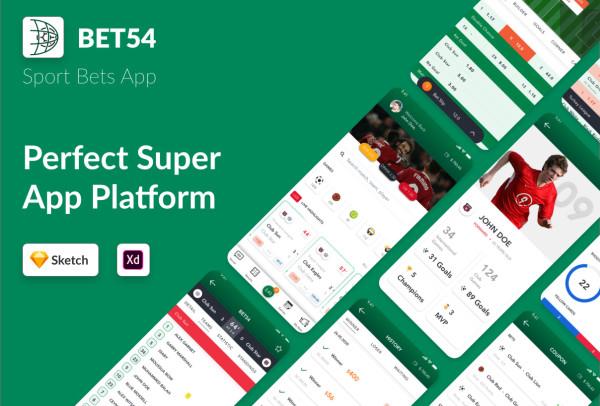 BET54 体育赛事投注 比赛跟踪 移动应用UI套件 16个UI布局