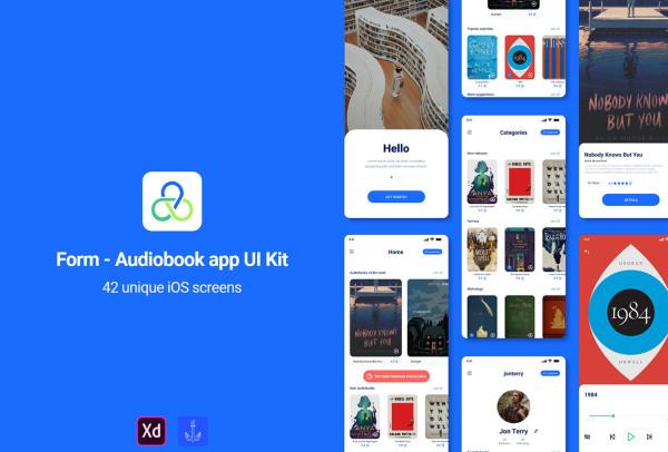 有声读物/有声小说 听书移动应用UI套件 含42个UI设计布局