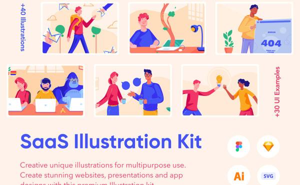 SaaS 人物场景矢量插画素材 31幅UI示例插画和40多个元素