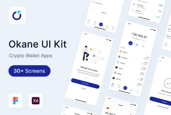 Okan 移动金融/加密钱包 移动应用UI套件 33个UI设计布局