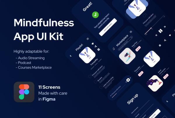 瑜伽冥想音乐流媒体/播客 移动应用UI套件 10个UI设计布局