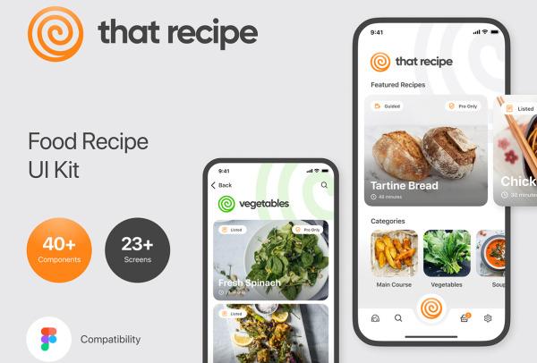 美食烹饪教学/食谱配方指南 移动应用UI套件 含30个UI设计