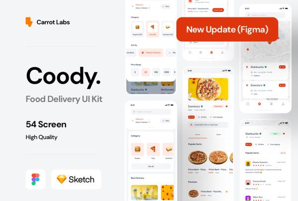 完美的在线订餐/食品配送 移动应用UI套件 54个UI设计布局