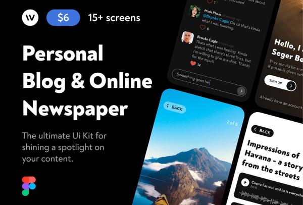 个人博客或在线资讯/杂志 移动应用UI套件 19个UI设计布局