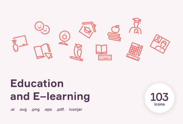 一组教育与学习类矢量图标素材 包含103个精美的线性图标