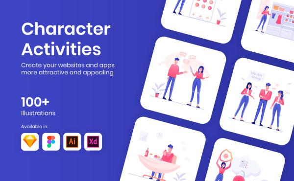 一组人物角色活动场景矢量插画素材集合 含108幅精美插画
