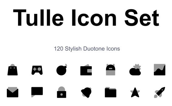 时尚的双色调黑白风格矢量图标素材 包含120个精美的图标