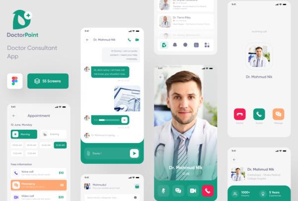 医生顾问|预约|咨询服务移动应用UI套件 含55个UI设计布局