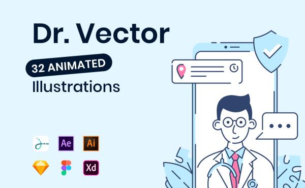 Dr. 医学主题类人物场景动态插画素材 32幅动画和静态插画