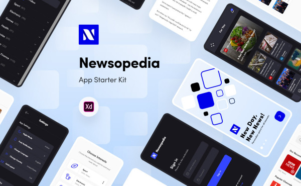 Newsopedia 新闻资讯类 移动应用UI套件 54个UI设计布局