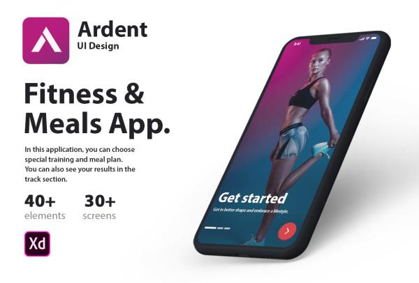 Ardent 健身和膳食计划移动应用UI套件 含32个UI设计布局