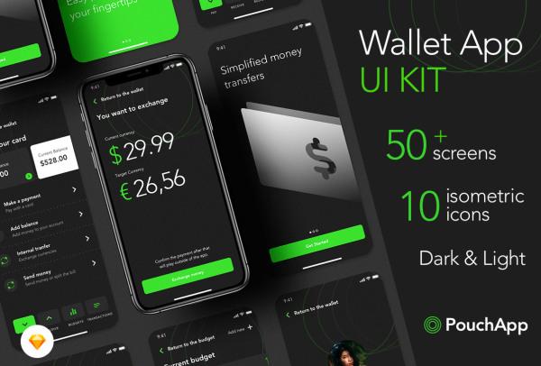 电子钱包|储蓄|消费|转账 移动支付应用UI套件 104个UI布局